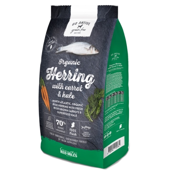a bag of go native organic fish dog food with herring and carrot and kale
