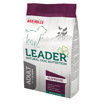 leader supreme natural dog nutrition adult dog food by connolly's red mills for glossy coat