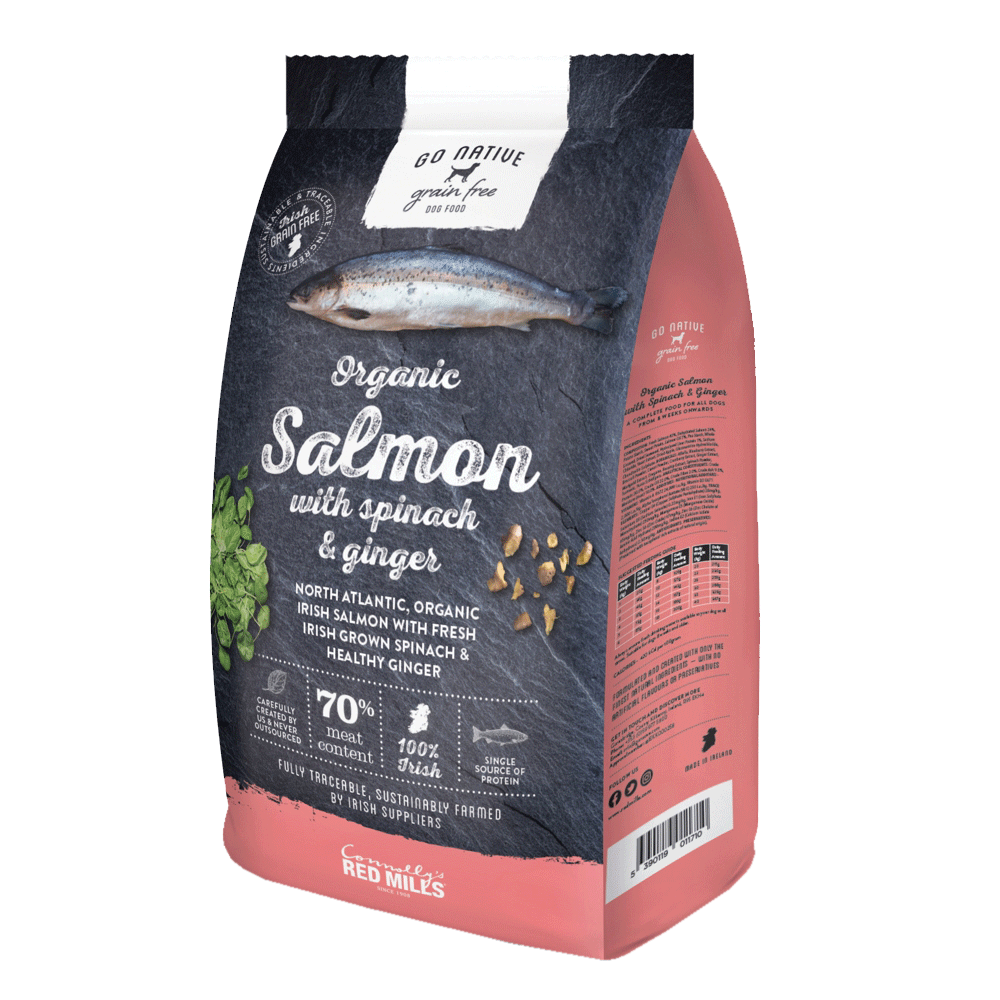 a bag of go native organic salmon dog food with spinach and ginger