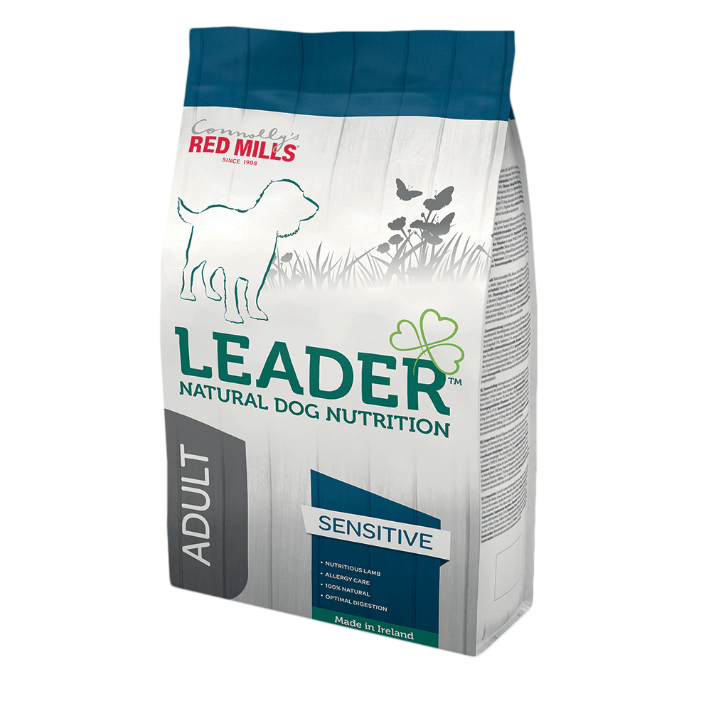 leader natural dog nutrition dog food by connolly's red mills sensitive range for medium size dogs with food intolerance, poor digestion