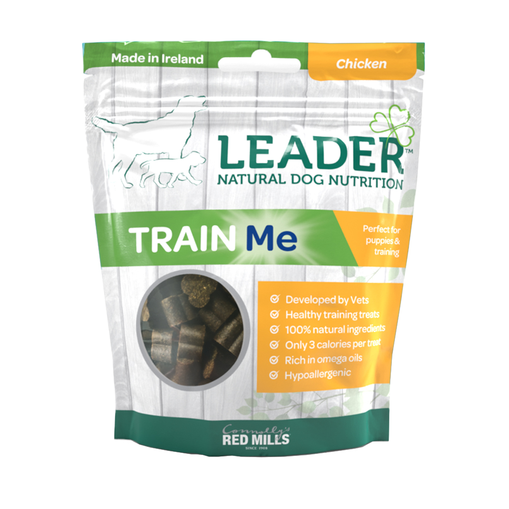 leader train me soft dog treats chicken flavour